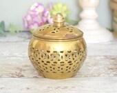 Vintage brass box with li...