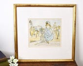Framed vintage 19thC illustration print of an elegant lady returning from a ride, in gilt frame, one of four