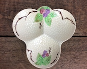 "Decorative vintage condiment dish, Wade pottery 'Bramble"" design embossed trefoil dish"