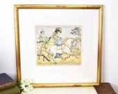 Framed vintage 19thC illustration print in gilt frame, one of four