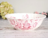Large vintage dish or bowl by Alfred Meakin, with pretty red floral basket transfer design 'Charlotte'