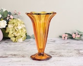 vintage amber glass vase, ,tall flared, faceted fluted shape