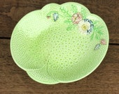 Vintage 1940's Mellaware ceramic dish or bowl in pale green with pretty raised floral design.