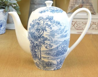 Vintage blue and white coffee pot, Wedgwood toile 'countryside' transfer design