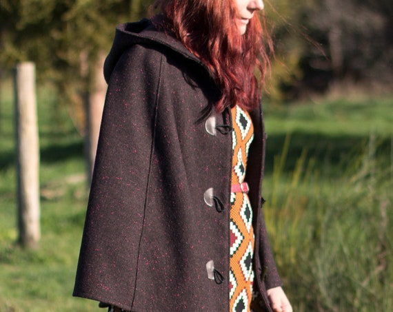 Brown and Black Speckled Wool Cape, Cloak, Poncho, Coat with Hood and Wooden Toggles.