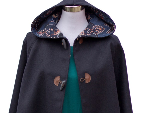 Navy Cape, Cloak, Poncho, Coat with Hood and Wooden Toggles.