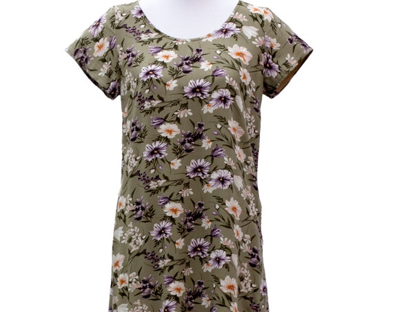 The Ziggy loose fit tunic dress with pockets in 'Olive green floral' print