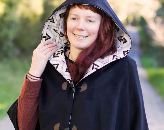 Black Wool Cape, Cloak, Poncho, Coat with Geometric Lining, Hood and Wooden Toggles.