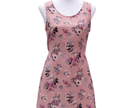 The Frankie tunic dress with waist ties in 'dusty pink floral' print