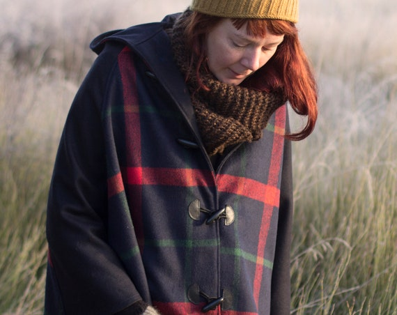 Red and Navy Tartan Wool Cape, Cloak, Poncho, Coat with Hood and Wooden Toggles.