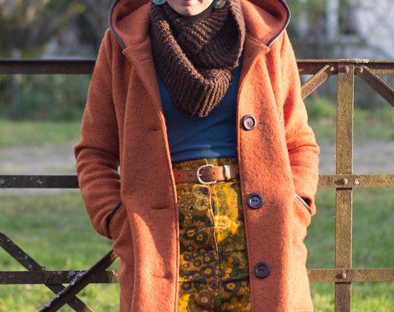 The Billie Coat, Thick Warm Wool Jacket in Burnt Orange.