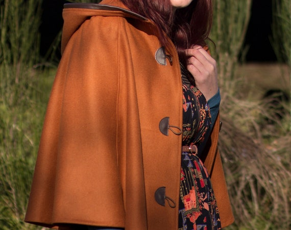 Burnt Orange Cape, Cloak, Poncho, Coat with Leather Trim Hood and Wooden Toggles.