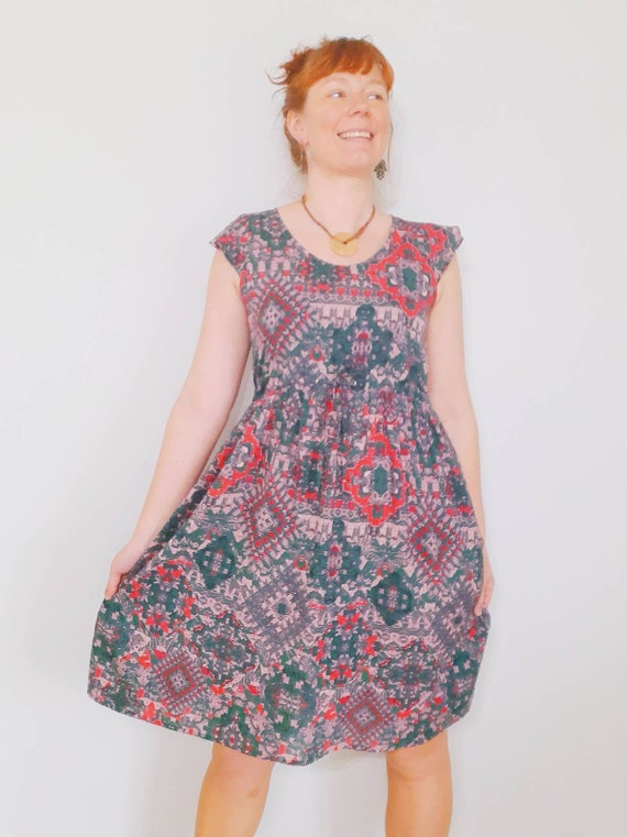 The Mollie dress in green and pink kaleidoscope
