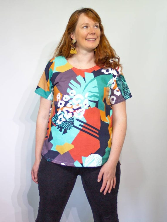 The Ruby tee in bright abstract
