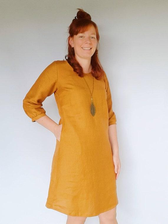 The Izzy dress in Golden Mustard Linen