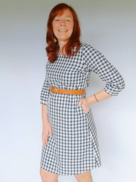 The Izzy dress in Navy Gingham
