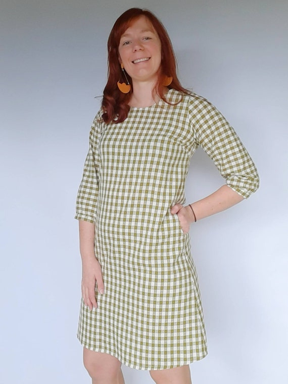 The Izzy dress in Olive Gingham