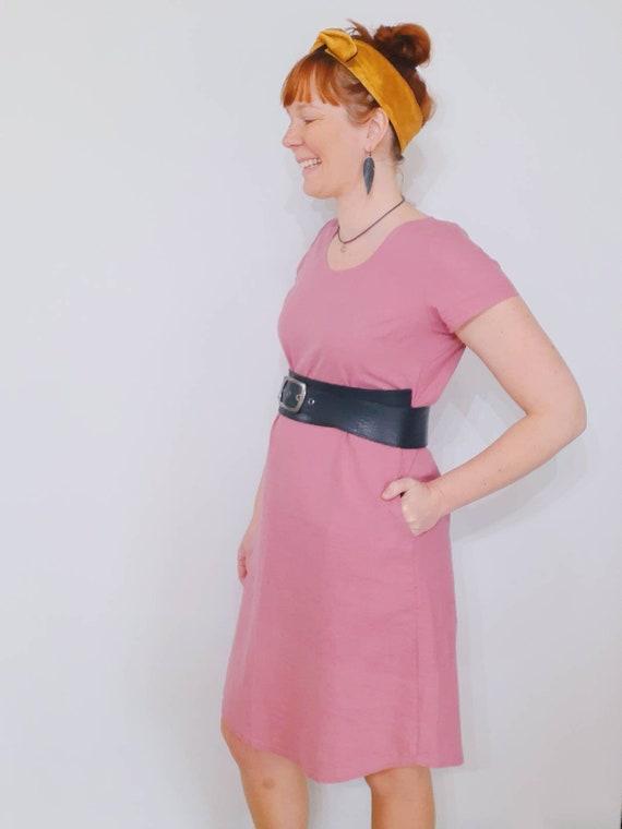 The Ziggy dress in dusty pink linen