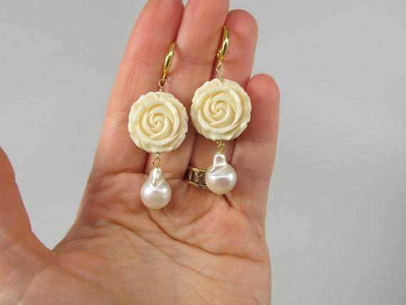 Chandelier Baroque pearl Silver Dangling Earrings Baroque Earrings Silver Plated Pearl Earrings Baroque Jewelry Bridal Earrings; BEST SELLER