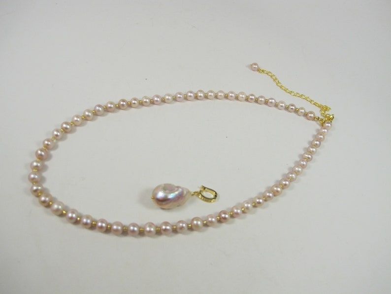 Chunky pink baroque pearl Necklace Statement pink pearl  Necklace Anniversary Birthday Graduation Bridal Gift baroque pearl necklace