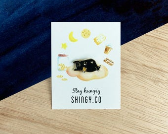 Stay hungry cat enamel pin