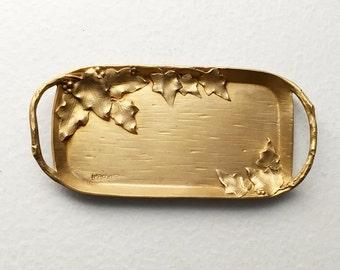 Petit Vide-Poche en Bronze à Décor de Feuilles de Vigne - Signé Leroyer - Art  Nouveau 36cc3bfbb57
