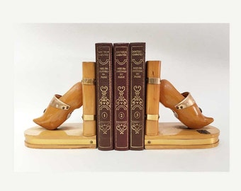 Pair of French Vintage Wooden Bookends in the Shape of Clogs - 60's
