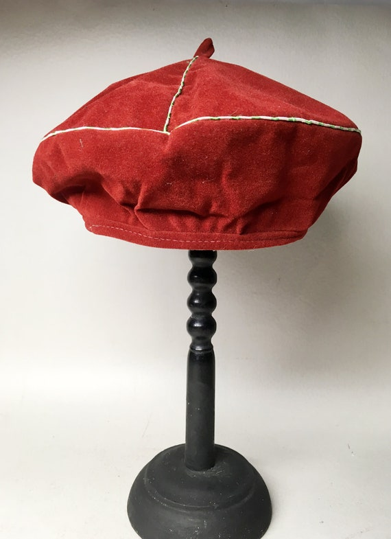 Red Velvet Chinese Beret - Traditional Chinese Hat