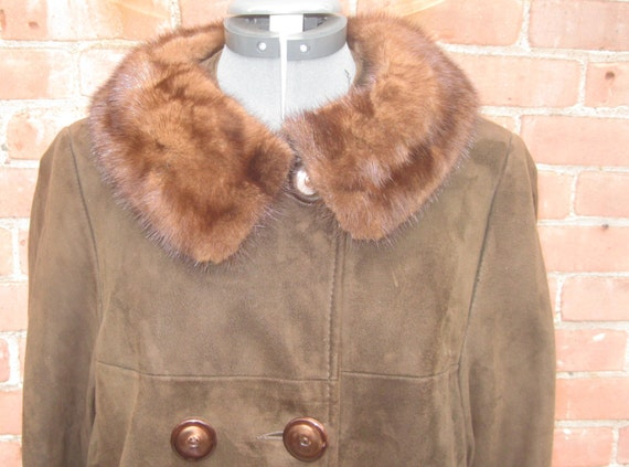 Vintage 1960's Mod Chocolate Brown Suede Double Br