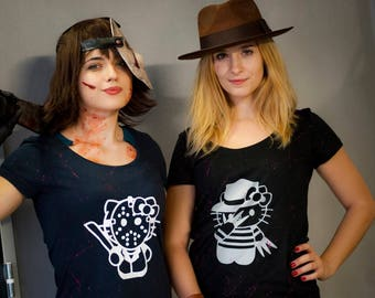 T-shirt women hello kitty slasher Jason voorhees, Freddy krueger geeky kawaii Friday 13th nightmare on elm street Friday the 13th