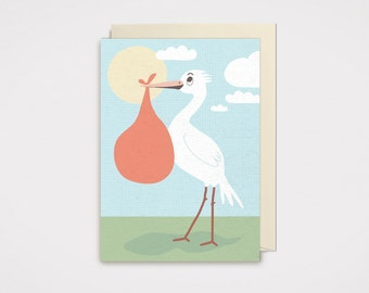 Stork Greeting Card - Baby
