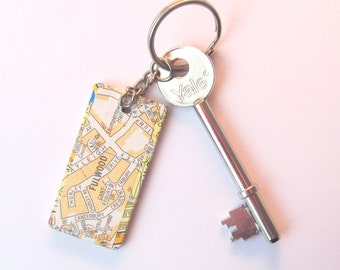 Sheffield map keyring: unique oblong key fob made with vintage/old maps. Custom made with an area of your choice. Ideal Father's Day gift.