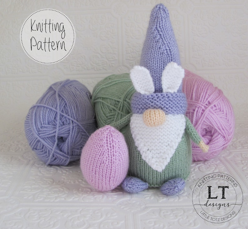 Bunny Gnome and Easter Egg pattern Soft knit toy Tutorial image 0