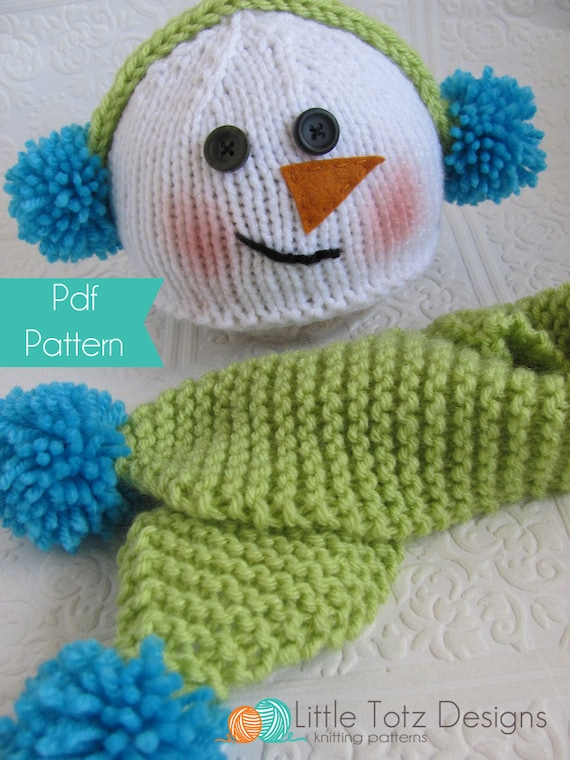 Snowman Hat And Scarf Set Knitting Pattern 3 Sizes Etsy