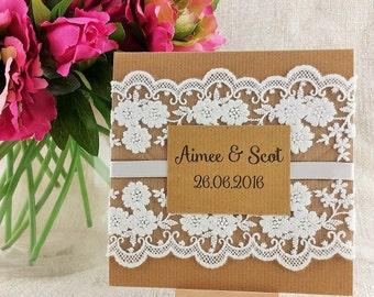Vintage Kraft Lace Pocketfold Wedding Invitation