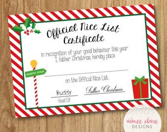 Father Christmas Nice List Certificate Boy/Girl