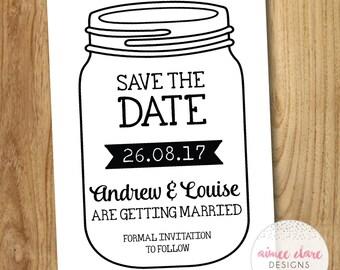 Rustic Mason Jar Save The Date