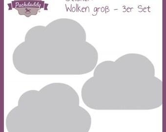 3er Set Puckdaddy  Sticker graue Wolken Augen groß