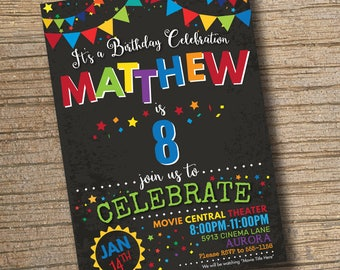 Boy Birthday Party Invitation Any Age Invitations Chalkboard Printable
