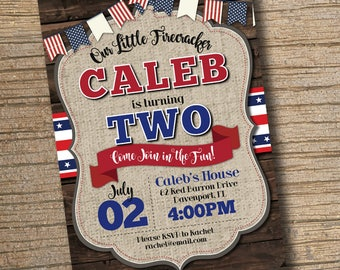 PRINTABLE Chalkboard Firecracker Birthday Invitation July 4th Independence Day Party BBQ Boy Or Girl