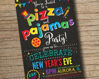 new years eve pizza party pizza and pajamas party invitation pizza party invitations new years party pizza new years invite pizza pjs