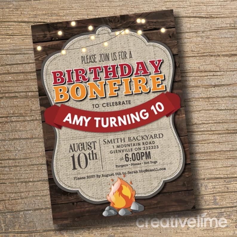 Bonfire BBQ Party Invitation Printable Birthday