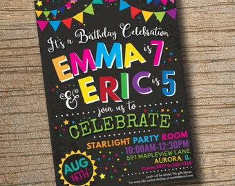 Joint Combined Birthday Party Invitation, Twins Birthday Invitations, Siblings Party, Joint Birthday Invitation Chalkboard (Printable)