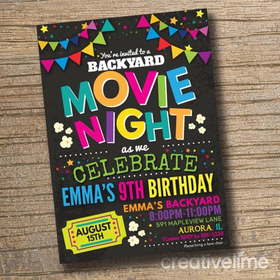 movie night invitations movie birthday invitations backyard etsy