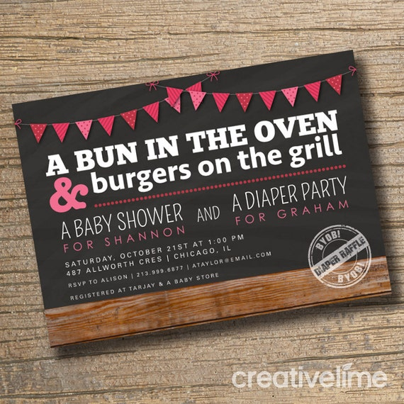 Couples Baby Shower Invitation Co Ed Invite Diaper Party Bun In The Oven BBQ Wood Bunting Modern