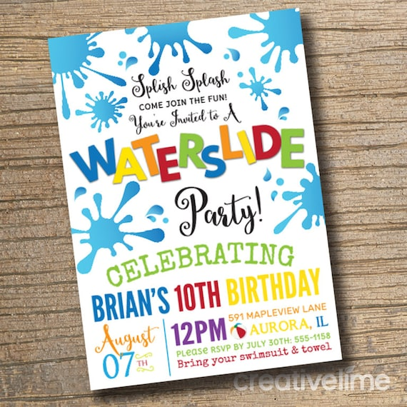 PRINTABLE Waterslide Party Invitation Pool