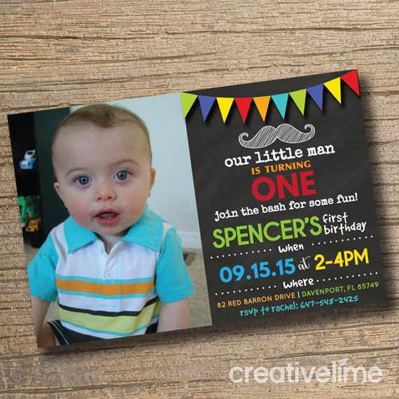 Moustache Baby Boy Bash First Birthday Invitation Boy First Birthday Moustache With Photo Boys Moustache Birthday Party Chalkboard