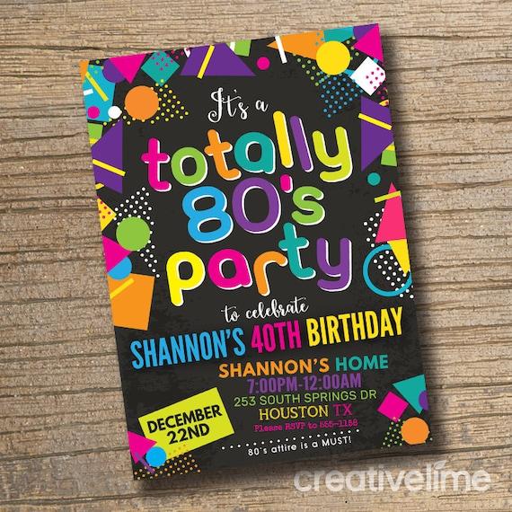 80s invitations retro 1980s birthday invitations 1980 s etsy