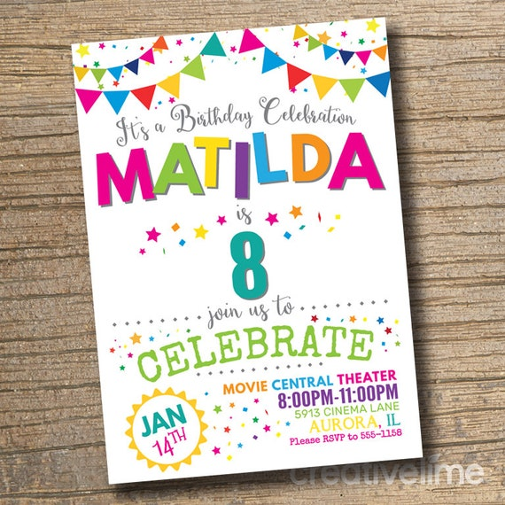 picture relating to Girl Birthday Party Invitations Printable named Lady Birthday Social gathering Invitation, Any Age Birthday Invites, Birthday Occasion, Lady Birthday Invitation (Printable)