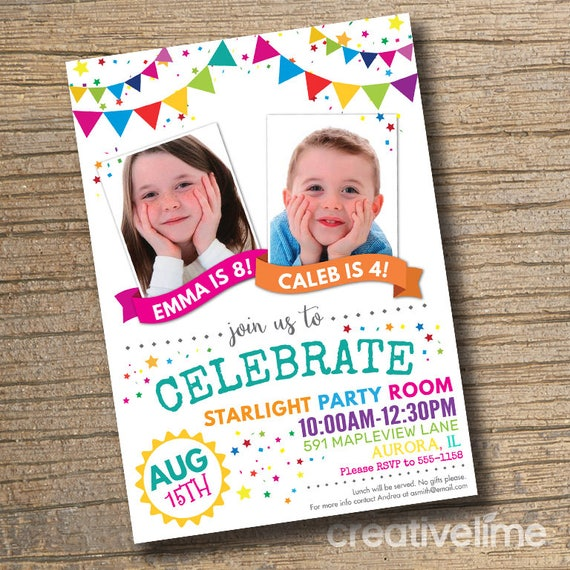 Joint Combined Birthday Party Invitation Twins